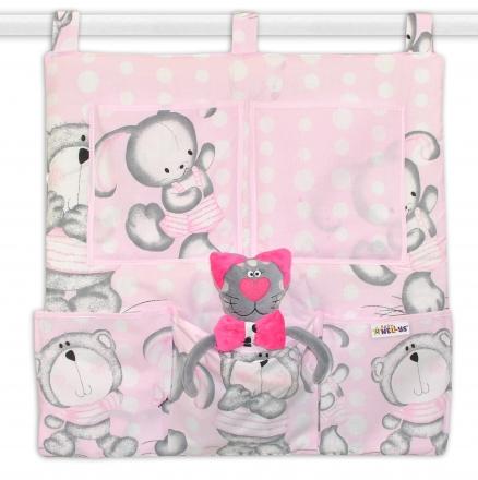 Baby Nellys Kapsář na postýlku Medvídek s králíčkem Bubble - růžový Baby Nellys
