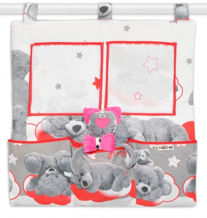 Baby Nellys Kapsář na postýlku Medvídek hvězdička - šedý s červenou Baby Nellys