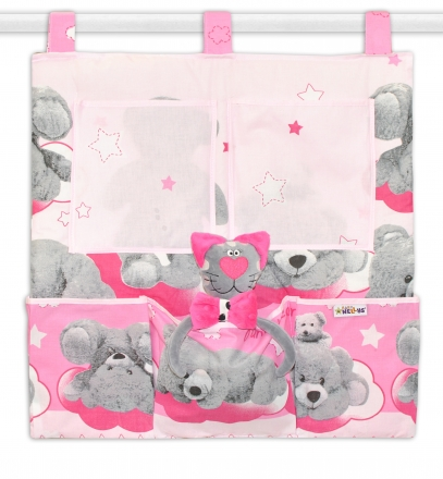 Baby Nellys Kapsář na postýlku Medvídek hvězdička - růžový Baby Nellys