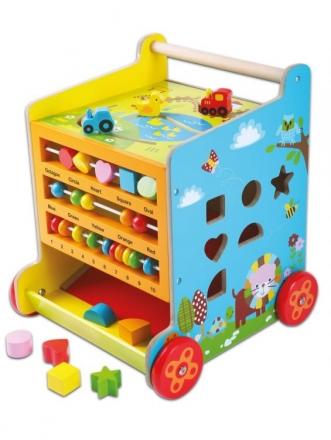 Eco toys Dřevěné chodítko, edukační kostka