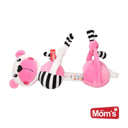 Hencz Toys Edukační hračka závěsná s chrastítkem Medvídek - růžový
