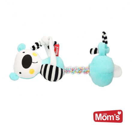 Hencz Toys Edukační hračka závěsná s chrastítkem Medvídek - tyrkysový