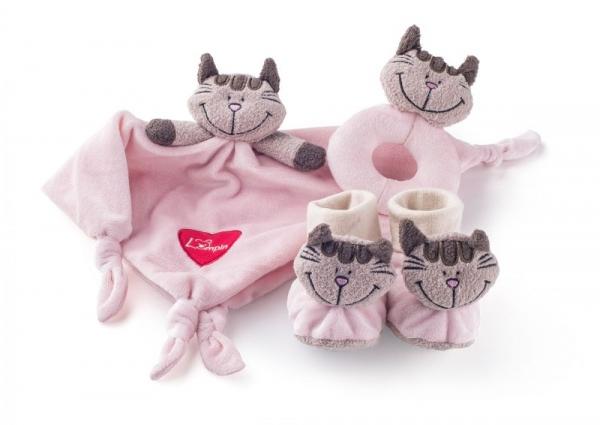 Lumpin Plyšová sada v krabičce - muchláček, chrastítko a botičky 3v1 - Kočička Andžela