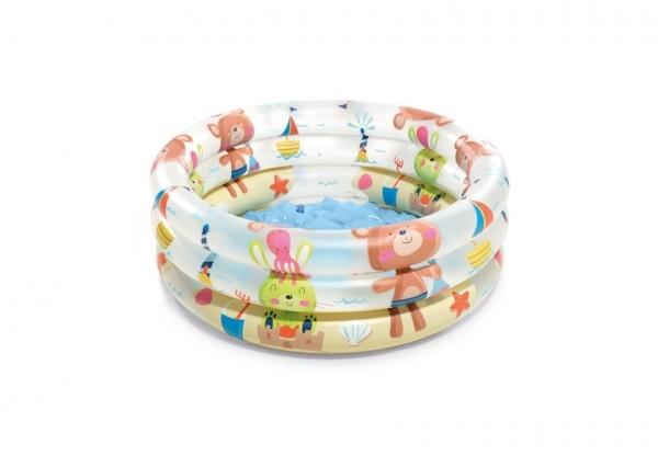 Bazén dětský s medvídky nafukovací dno 3 komory 61x22cm 1-3let