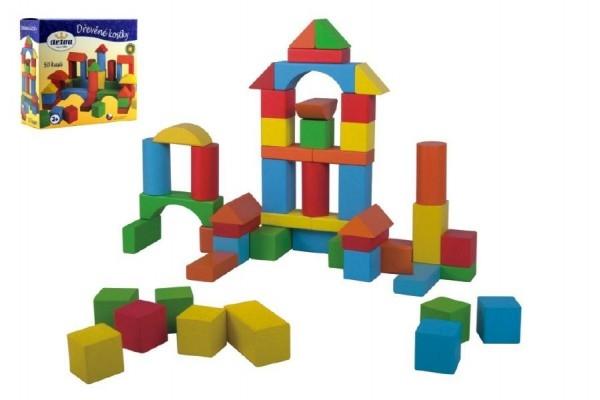 Kostky stavebnice dřevo 50 ks v krabici 20x19x8cm