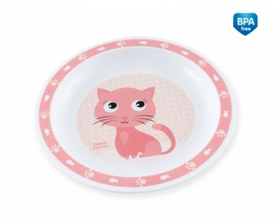 Canpol babies Plastový talířek Kočička - růžový