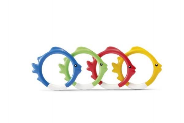 Zábavné kruhy/ryby 4ks pro potápění ve vodě plast 10cm na kartě