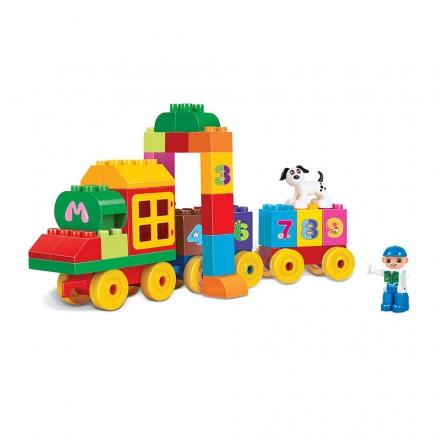 Stavebnice blocks kostky vlak s čísly, 63 ks