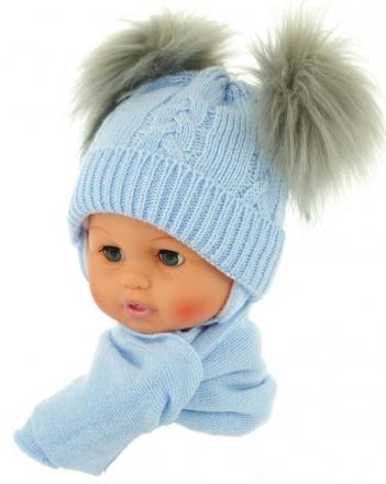 BABY NELLYS Zimní čepička s šálou - chlupáčkové bambulky - sv. modrá