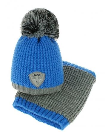 BABY NELLYS Podzimní/zimní čepice s komínkem - bambulka - modrá/šedá