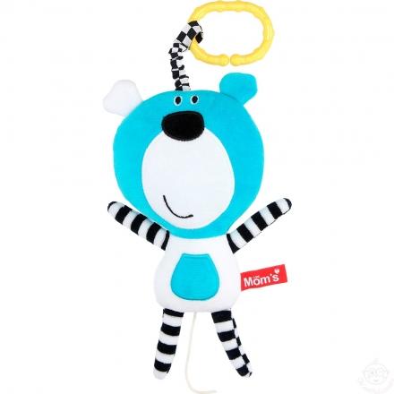 Hencz Toys Závěsná edukační /plyšová hračka Méďa s melodií - tyrkysová