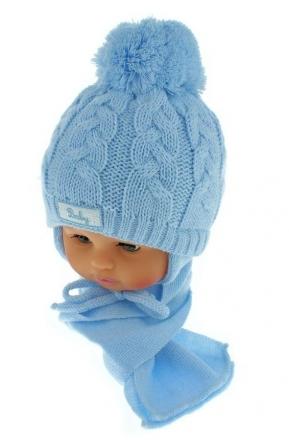 BABY NELLYS Zimní pletená čepička s šálou Baby Bear - modrá s bambulkou