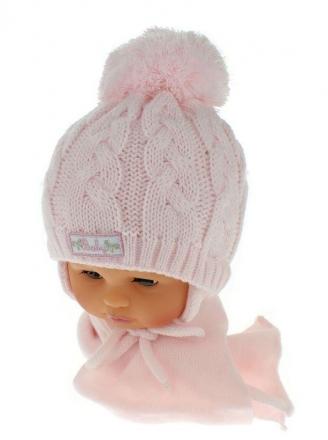 BABY NELLYS Zimní pletená čepička s šálou Baby Bear - růžová s bambulkou
