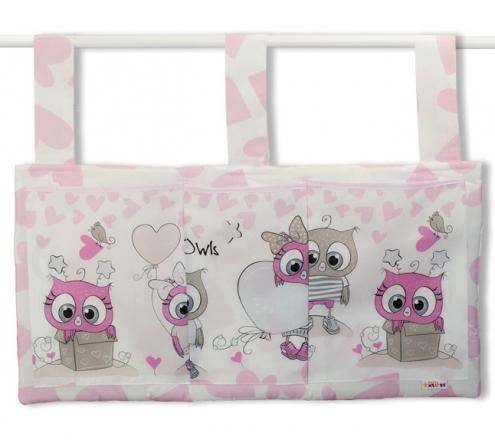 Baby Nellys Kapsář na postýlku 3 kapsy - Cute Owls - růžový Baby Nellys