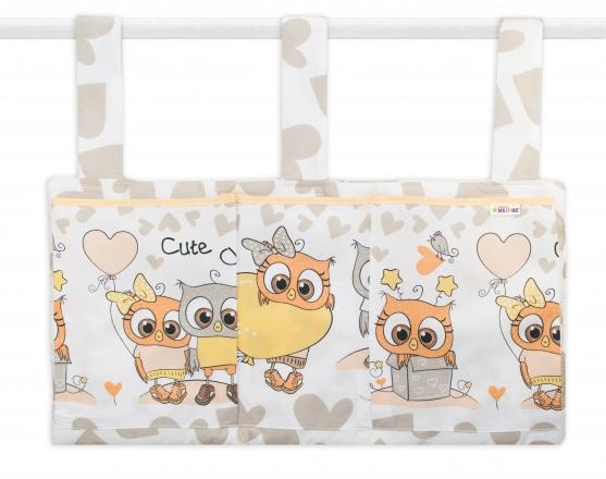 Baby Nellys Kapsář na postýlku 3 kapsy - Cute Owls - béžový Baby Nellys