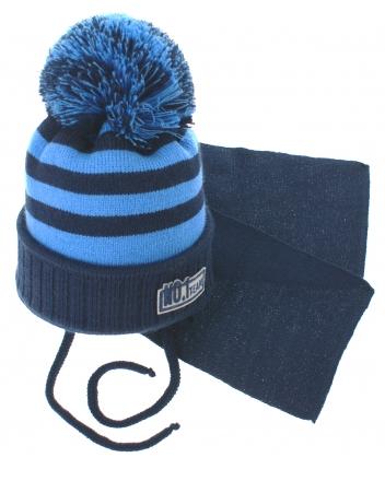 BABY NELLYS Zimní pletená čepička s šálou No.1 Team - proužky granát/modrá