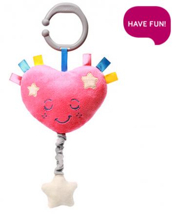 BabyOno Plyšové srdíčko s hracím strojkem Lullaby Heart - růžové
