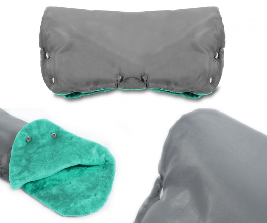 ICE BABY Rukávník ke kočárku fleece - šedý/mátový