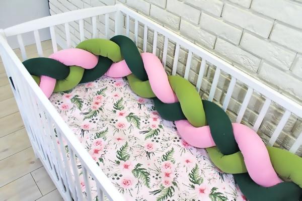 Baby Nellys Mantinel pletený cop s povlečením Květinky, 135x100 - zelená, růžová