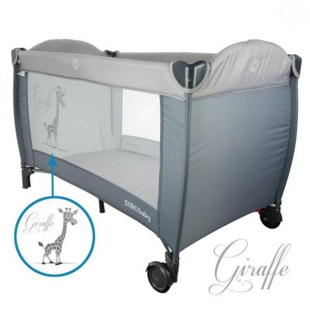 Euro Baby Dětská cestovní postýlka Giraffe - šedá, Ce19