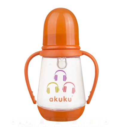 AKUKU Lahvička 125 ml Sluchátka - oranžová akuku