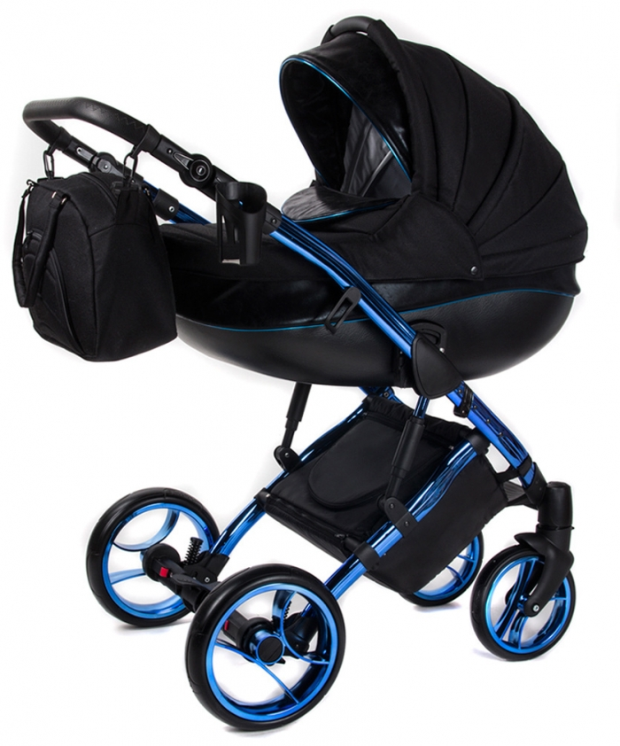 NELLYS Kočárek BLUE METALIC 2v1 - černý/modrý