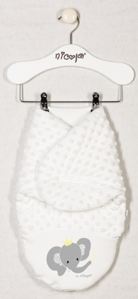 Minky Nicol zavinovací deka, zavinovačka Sloník - smetanová - oteplená