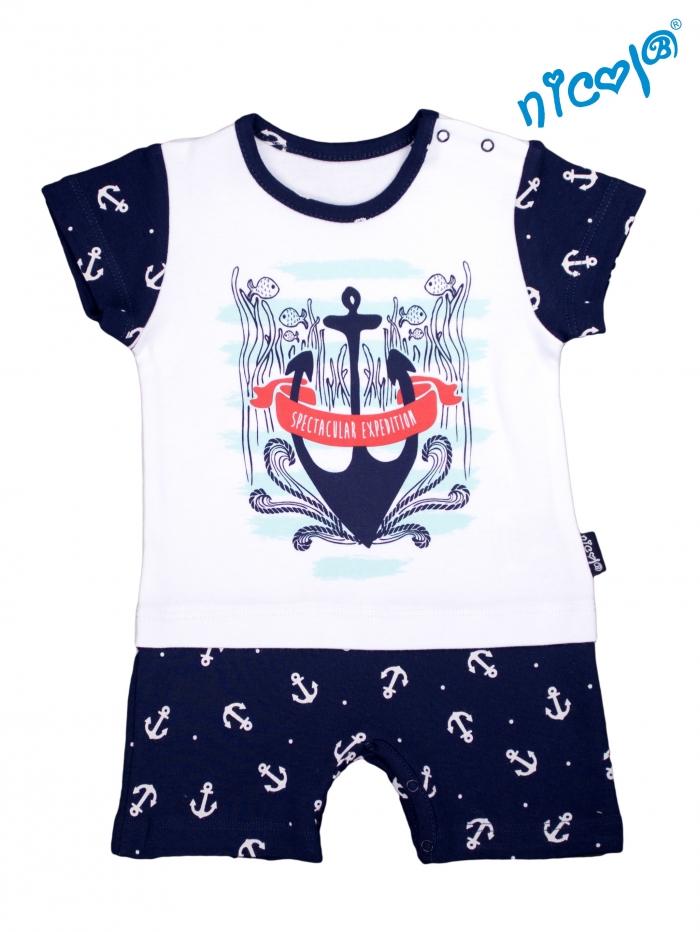 Kojenecké body s nohavičkami Nicol - krátký rukáv, Sailor - bílé/tm. modré, vel. 56