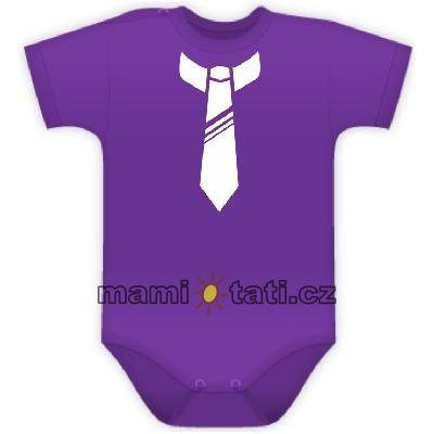 Body kr. rukávek s potiskem kravaty - fialové