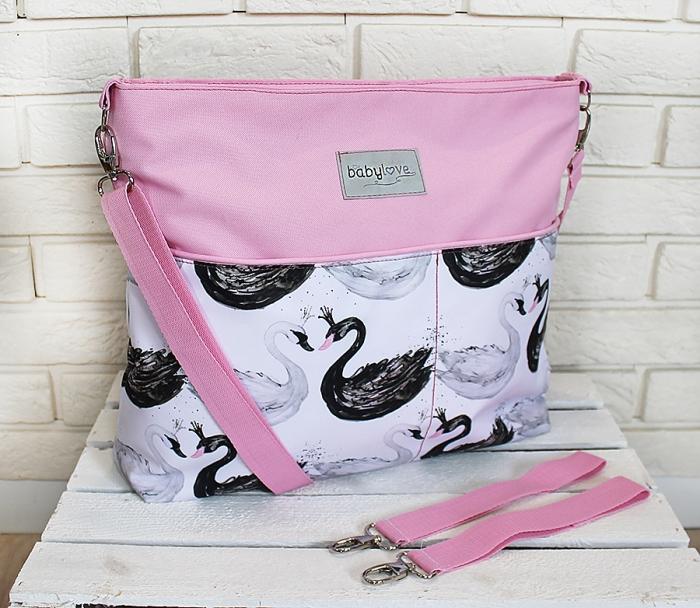 1a4e984999 Stylová taška na kočárek Baby Nellys Hand Made - Labutě - růžová