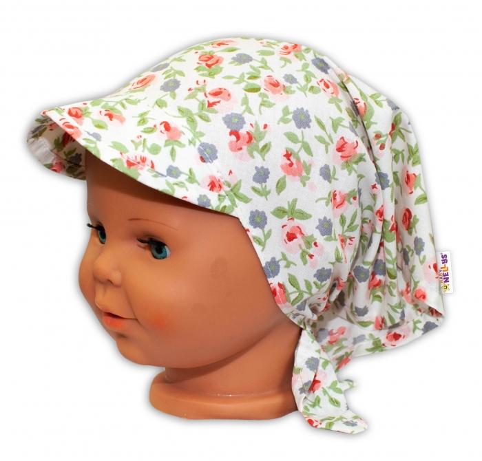 7a84cf9c2 Baby Nellys Dětský šátek s kšiltem na zavazování Květinky - bílé
