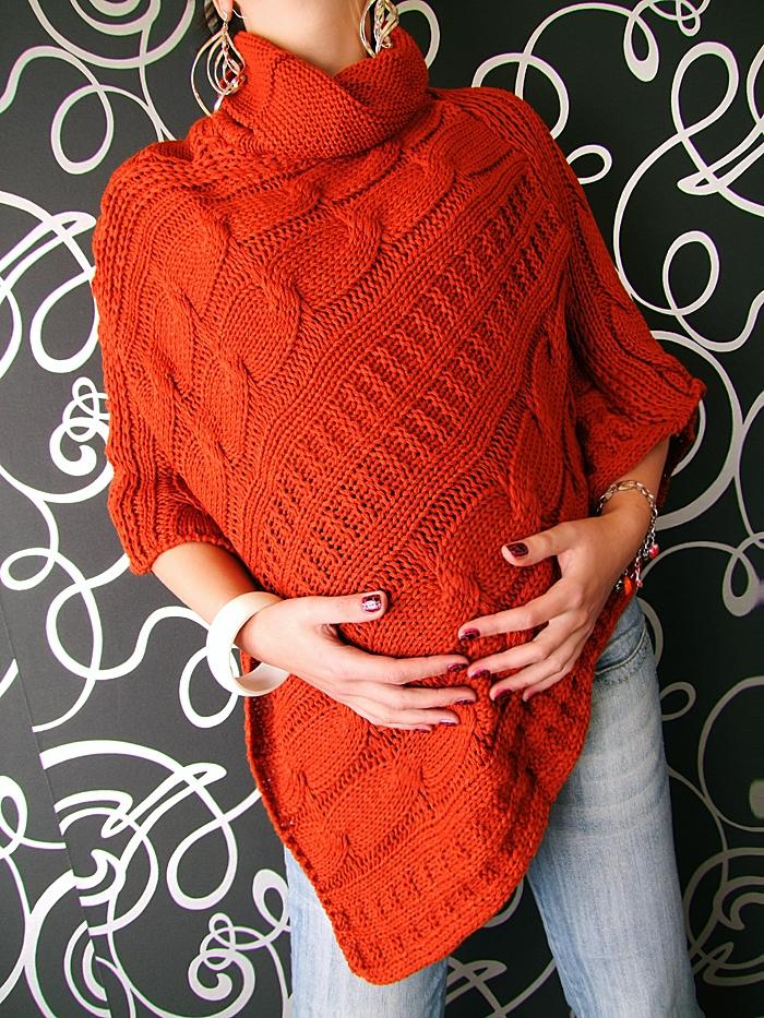 Pletené pončo - červená