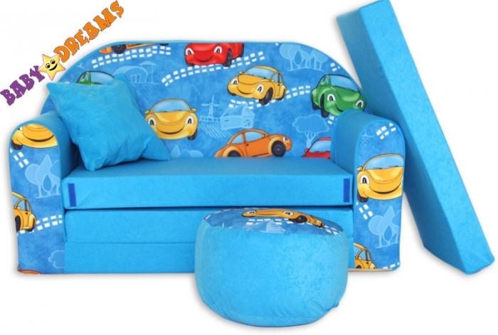 Rozkládací dětská pohovka 02R - Autíčka v modré