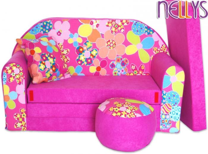 Rozkládací dětská pohovka 04R - Květinky v růžové