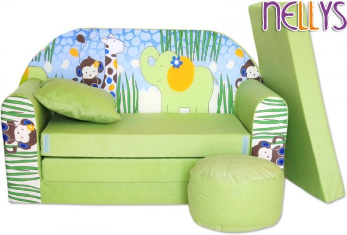 Rozkládací dětská pohovka 06R - Slon zelený