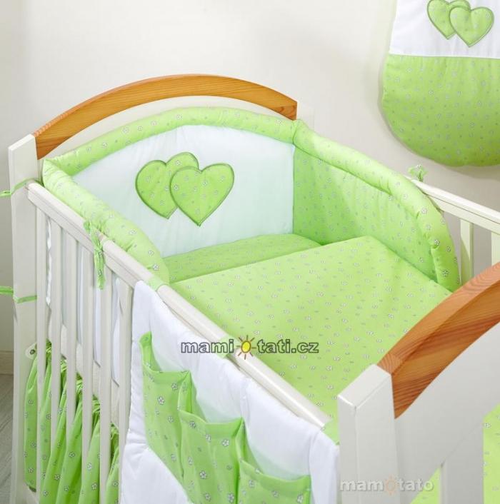 Náhradní potah kojícího polštáře - Srdíčko květinka zelená