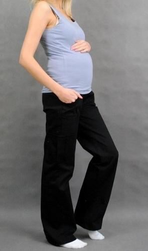 Těhotenské kalhoty s boční kapsou - černá