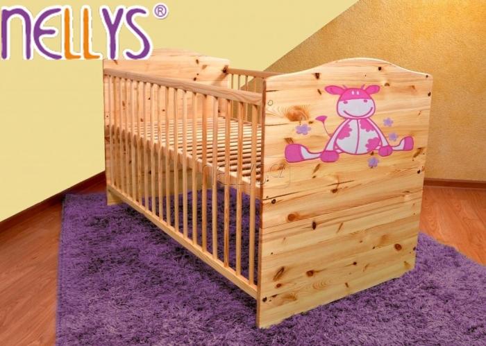Dřevěná postýlka Nellys přírodní - Kravička růžová