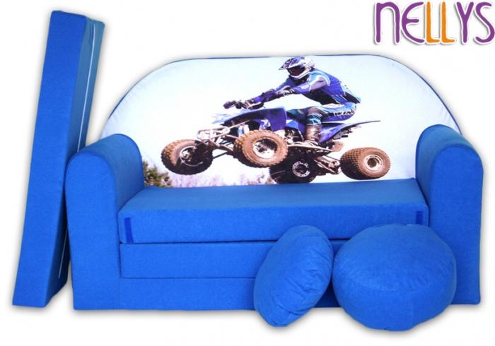 Rozkládací dětská pohovka 30R - Čtyřkolka v modré