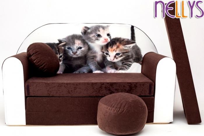 Rozkládací dětská pohovka 32R - Kočičky v hnědé