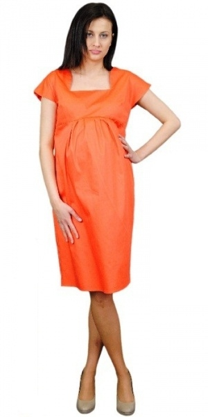 Těhotenské šaty ELA - oranžová