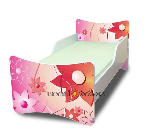 Dětská postel se zábranou Kytičky - 200x90 cm