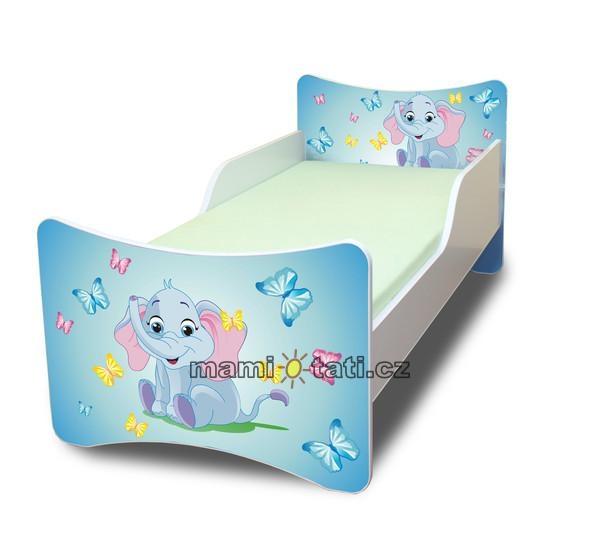 Dětská postel se zábranou Sloník - 160x80 cm