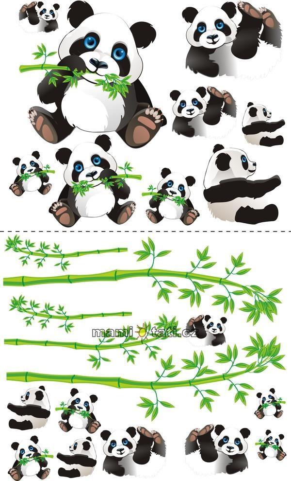 Nálepky, dekorace na stěnu 70x100 cm - Panda