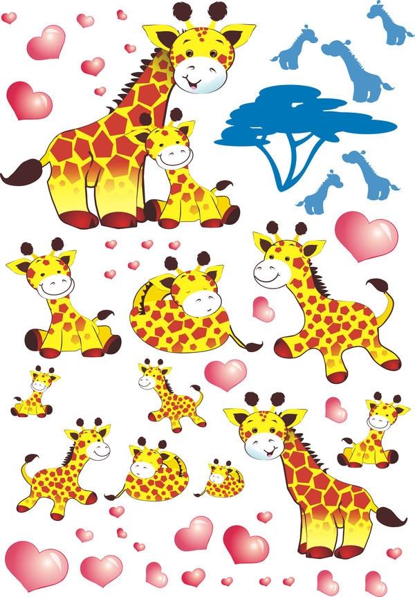 Nálepky, dekorace na stěnu 70x100 cm - Žirafky