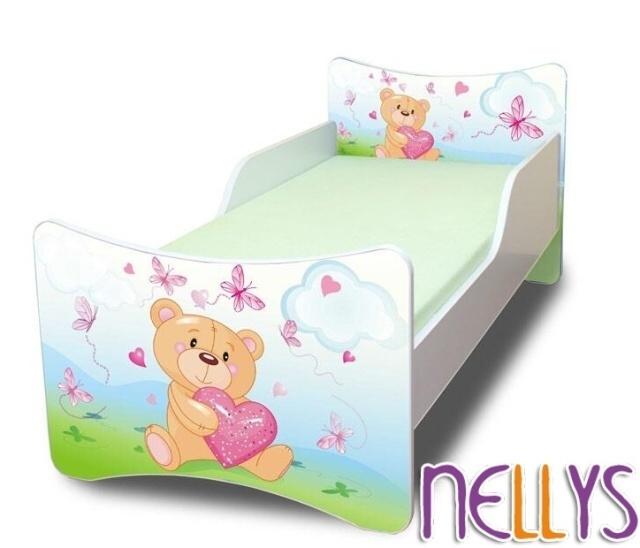 Dětská postel se zábranou Míša Srdce New - 180x80 cm