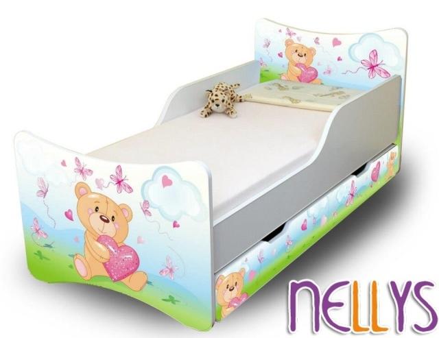 Dětská postel se zábranou a šuplík/y Míša Srdce New- 160x70 cm