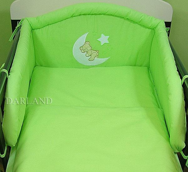 Mantinel s povlečením lux Darland - Medvídek na měsíčku 140 x 70 - zelená