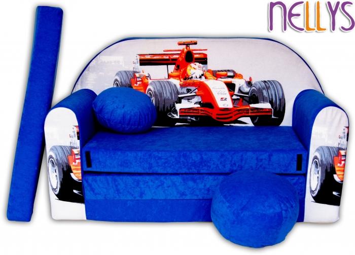 Rozkládací dětská pohovka 33R - Formule v modré