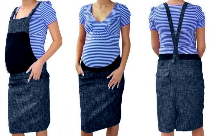 Těhotenské šaty/sukně s láclem - granátový melírek